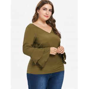 Plus Size Back Cut Out V Neck Blouse -