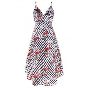 Polka Dot and Rose Print High Low Dress -