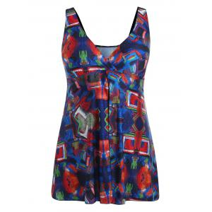 Plus Size Abstract Print Flyaway Swimsuit -
