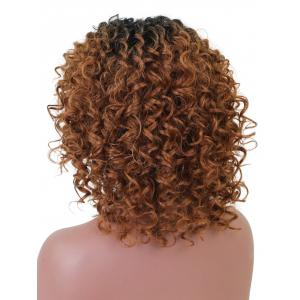 Short Side Bang Colormix Curly Lace Front Synthetic Wig -