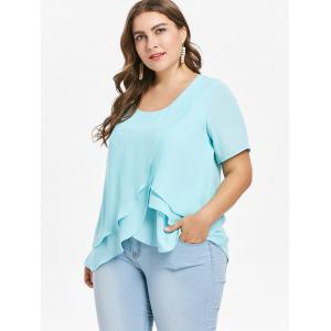 Plus Size Tiered Ruffle Overlap Blouse -