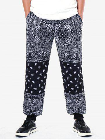 Ethnic Paisley Print Narrow Feet Jogger Pants