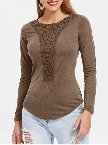Cheap Casual Scoop Neck Hollow Out Crochet Spliced Solid Color T-Shirt For Women