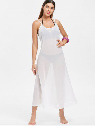 Sexy Style Spaghetti Strap Sleeveless Cross-Back White Maxi Dress For Women