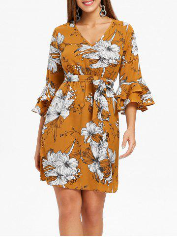 Hot Layered Bell Sleeve Floral Dress