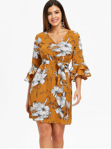 Layered Bell Sleeve Floral Dress