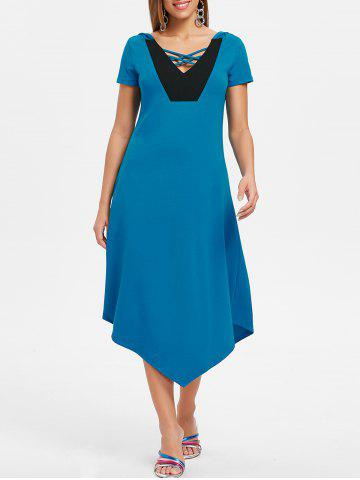 Asymmetrical Hooded Color Block Midi Dress - MACAW BLUE GREEN - M