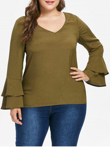 Store Plus Size Back Cut Out V Neck Blouse