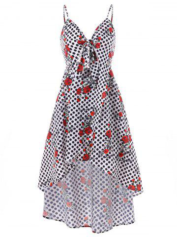 Store Polka Dot and Rose Print High Low Dress