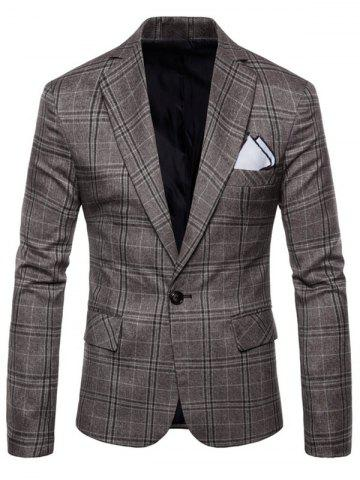 Trendy Check One Button Slim Fit Blazer