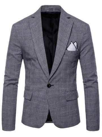 Latest Check Lapel One Button Blazer