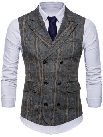 Discount Double Breasted Plaid Edging Waistcoat