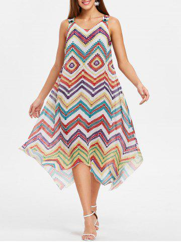New Zigzag Scoop Neck Asymmetrical Dress