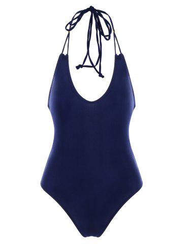 Backless Lace Up One Piece Swimwear - LAPIS BLUE - 2XL
