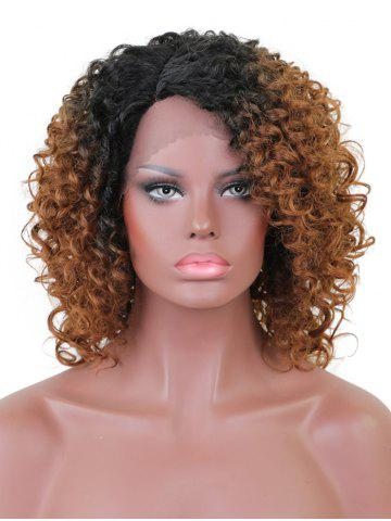 Discount Short Side Bang Colormix Curly Lace Front Synthetic Wig