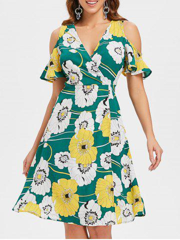 Store Floral Cold Shoulder High Slit Dress