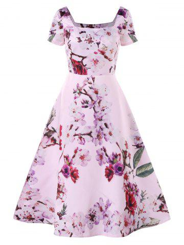 Square Neck Floral Print Dress