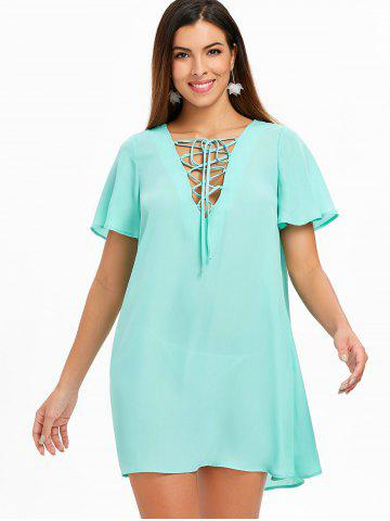 Lace Up Chiffon Mini Dress