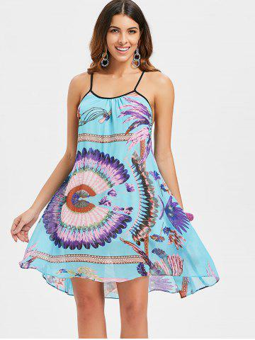 Open Back Spaghetti Strap Dress with Print