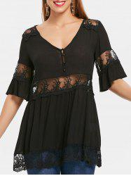 Lace Panel Flare Sleeve Blouse -