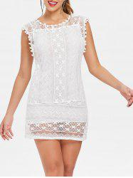 Scoop Collar Sleeveless See-Through Crochet Tunic -