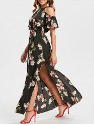 Floral Print Cold Shoulder Maxi Dress -