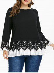 Plus Size Cutwork Pleated Hem Top -