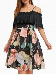 Print Panel Pleated Flounce Dress -