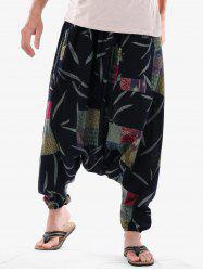 Casual Geometric Leaves Print Harem Pants -