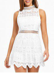 Ruffle Hemline Back Cut Out Lace Dress -