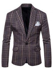 Lapel One Button Plaid Blazer -