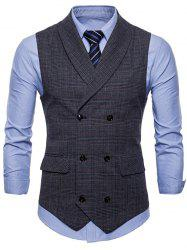 Flap Pocket Double Breasted Check Waistcoat -