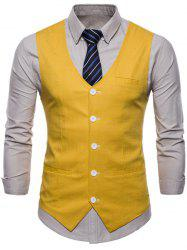 Casual V Neck Single Breasted Waistcoat -