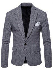 Check Lapel One Button Blazer -