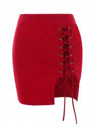 Lace Up Bodycon Skirt -