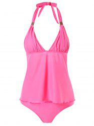 Cut Out Halter Tankini Set -