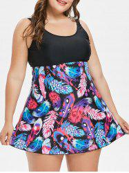 Colorful Feathers Print Plus Size Tankini -