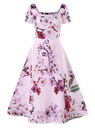 Square Neck Floral Print Dress -