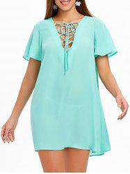 Lace Up Chiffon Mini Dress -