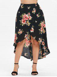 Plus Size Floral Overlap Skirt -