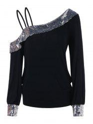 Cold Shoulder Sequin Panel Tee -