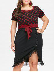 Plus Size Square Neck Polka Dot Dress -