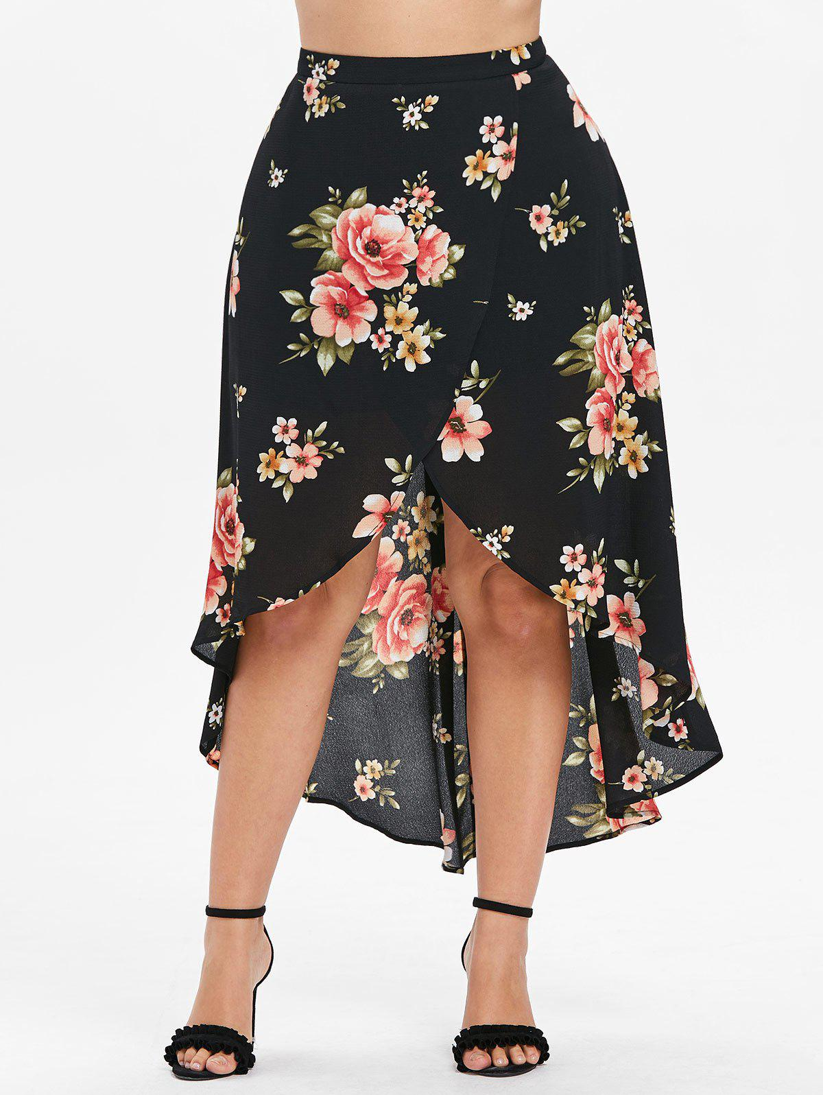 Discount Plus Size Floral Overlap Skirt