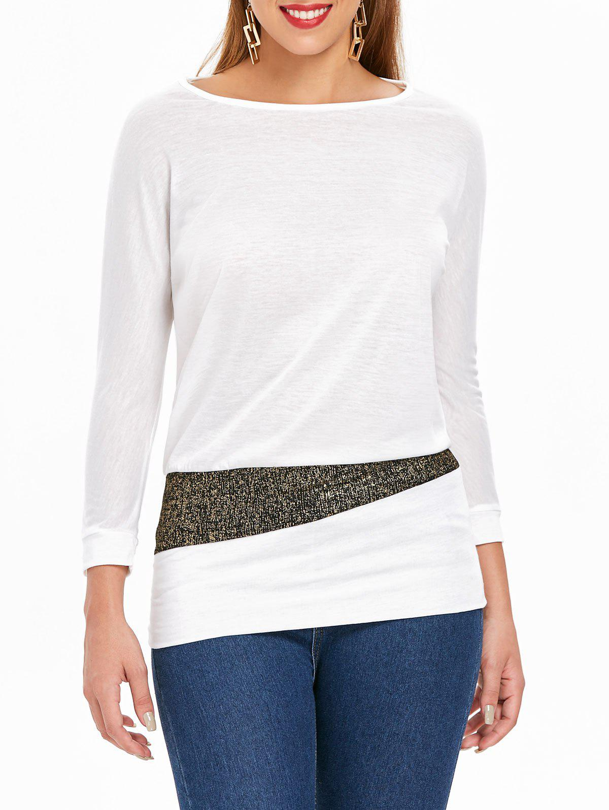 Fancy Long Sleeve Sequin Embellished Packet Buttock Cotton Blend T-Shirt
