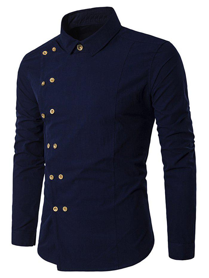 Cheap Long Sleeve Double-breasted Shirt