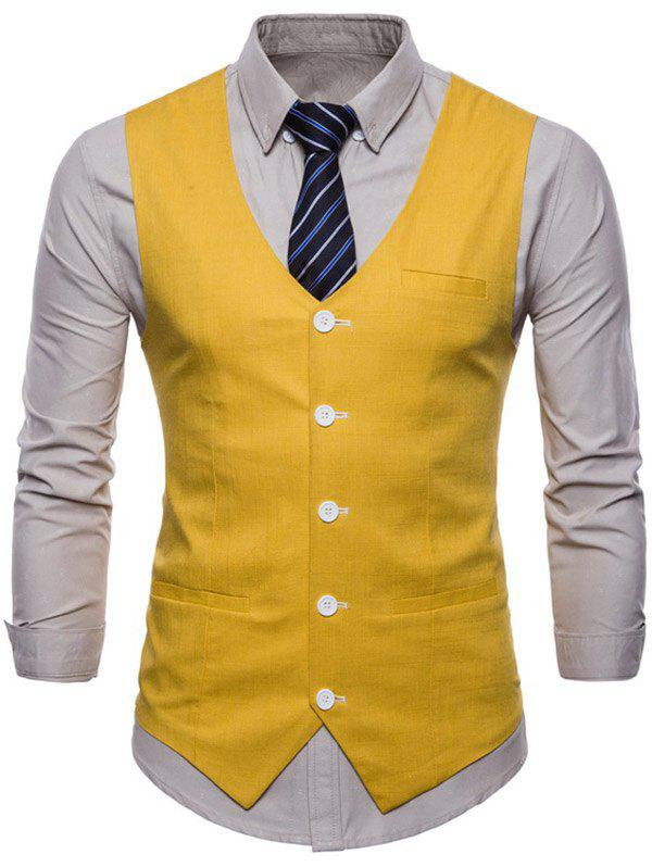 Affordable Casual V Neck Single Breasted Waistcoat