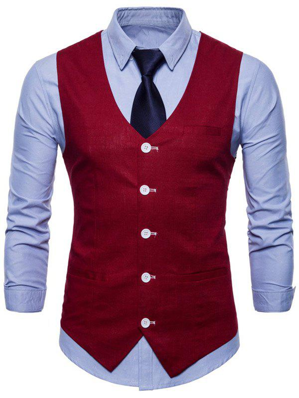 Unique Casual V Neck Single Breasted Waistcoat