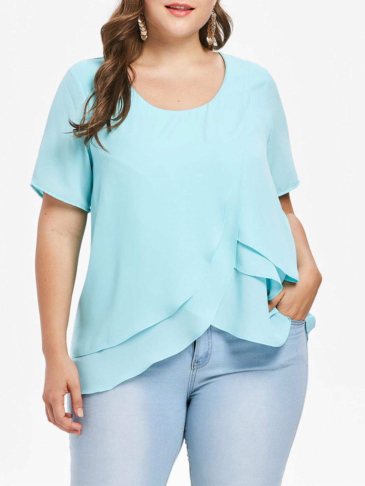 Latest Plus Size Tiered Ruffle Overlap Blouse