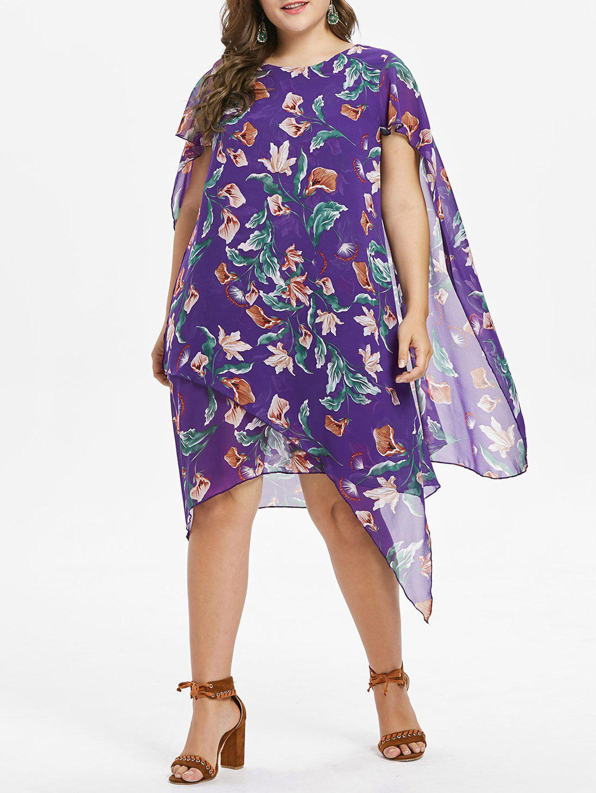 Outfit Plus Size Flower Capelet Dress