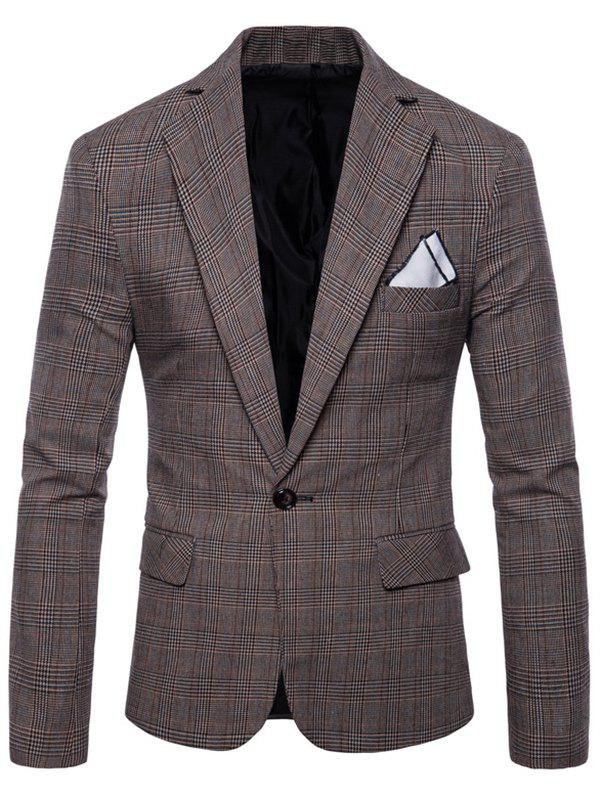 Shop Check Lapel One Button Blazer